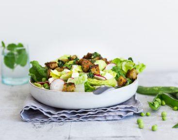 Sommersalat med croutoner