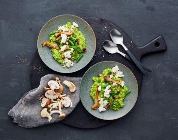 Grøn risotto med svampe og salatost