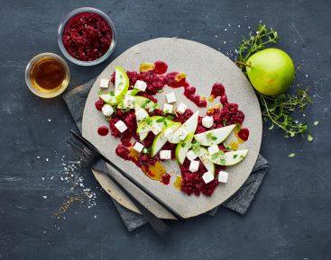 Pæresalat med rødvinskogte rødbeder og salatost II