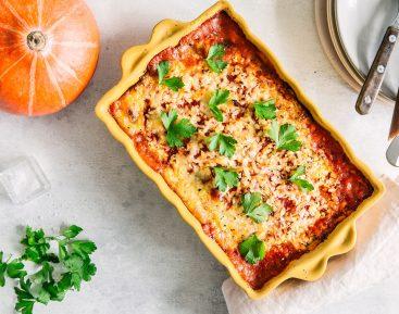 Græskar Paneer lasagne